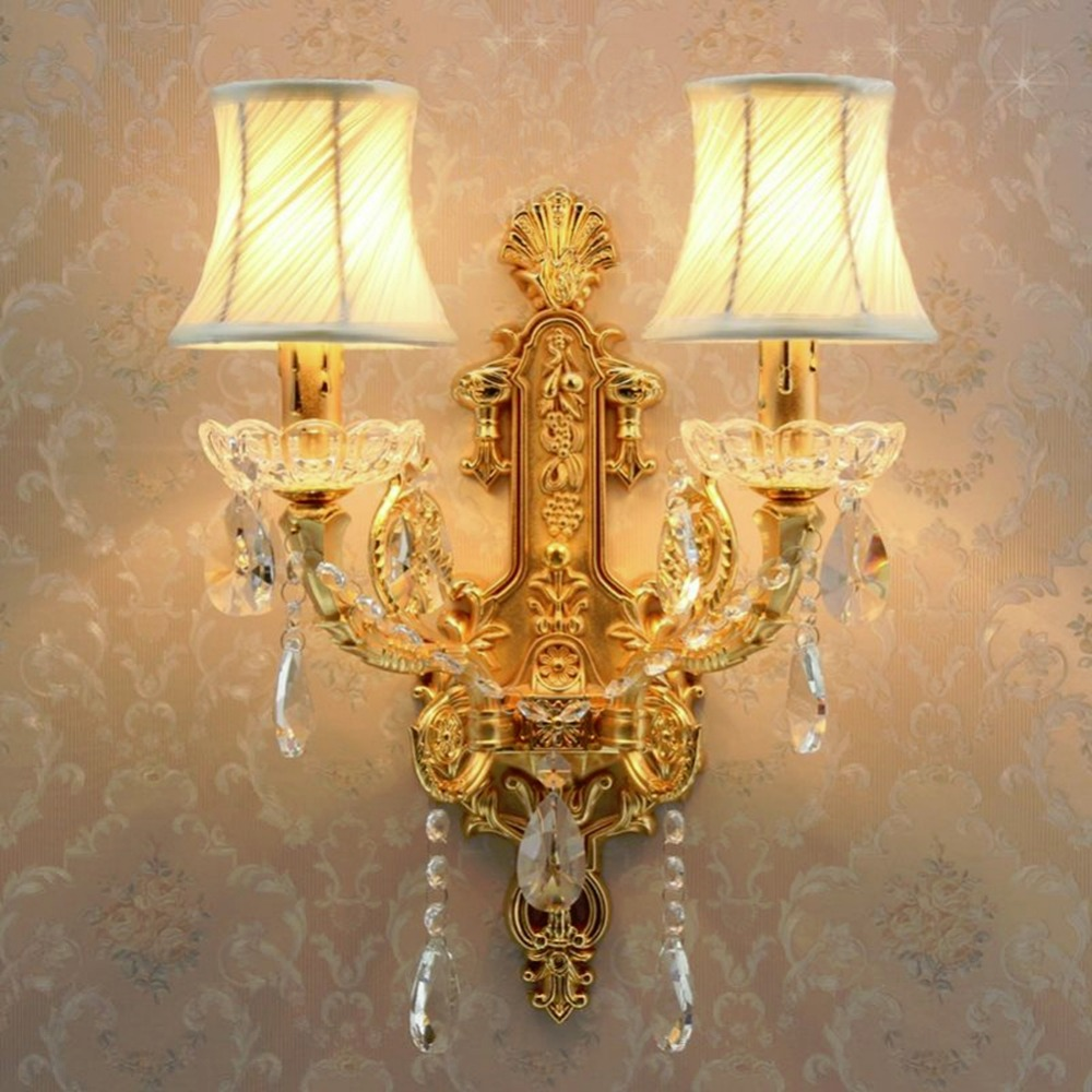 Hallway Wall Lights led Crystal Wall Lamp led Bedside Lamp Bedroom Crystal Wall Sconce Gold Modern Crystal Wall Sconces Lighting 2 lights modern creative metal wall light simple glass shade wall sconces fixtures lighting for hallway bedroom bedside wl282 2