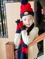 Fashion Cute 3 pcs Scarf Hat Glove Sets Girls Hamburger Pattern Beanies For Children Autumn Winter Soft Kids Beanies Knitted