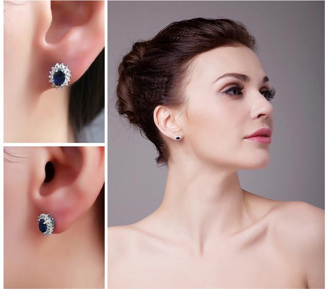 Blue Sapphire Princess Diana Stud Earrings