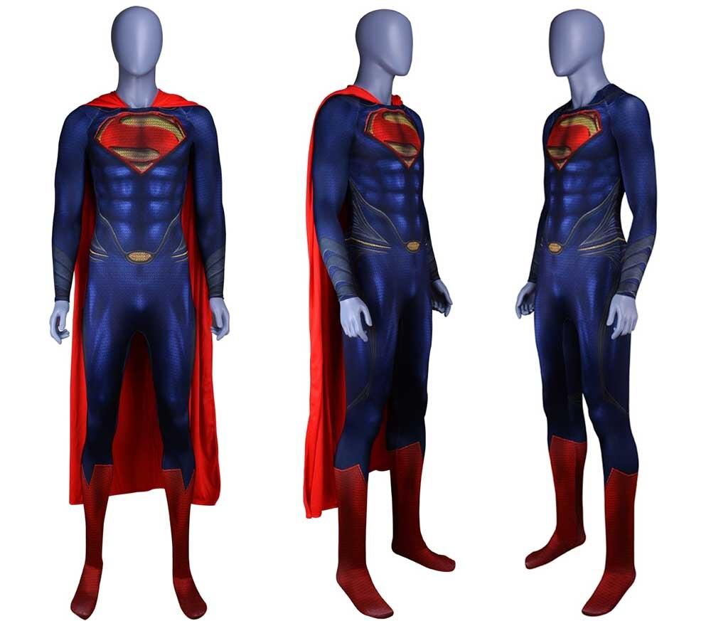 Nuevo traje de Superman hombre de acero Cosplay traje Deluxe 3D ... 6e89f43449826