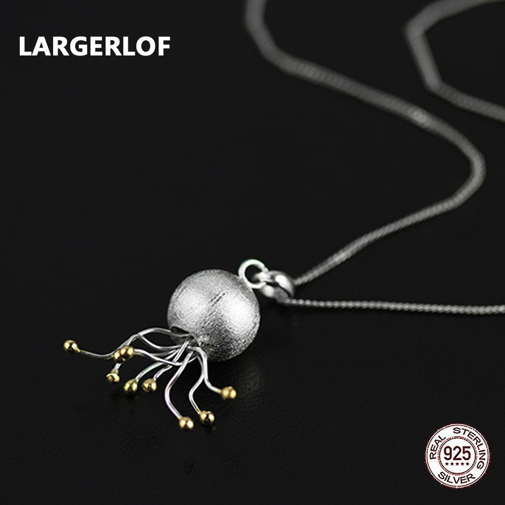 LARGERLOF Real 925 Sterling Silver Necklaces Pendants 925 Silver Necklaces Woman Handmade Charms Jellyfish Pendant PD47108 2017 real 925 sterling silver