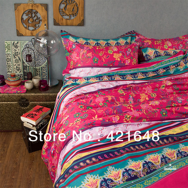 New Beautiful casa 100% Cotton 4pc Cover Set red turquoise boho bedding set Queen/ King size 4pcs Colorful textile