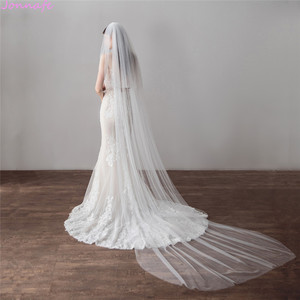 Image 3 - Jonnafe 3 Meter Cathedral Wedding Veils Long Ivory Tulle Bridal Veil With Comb Wedding Accessories