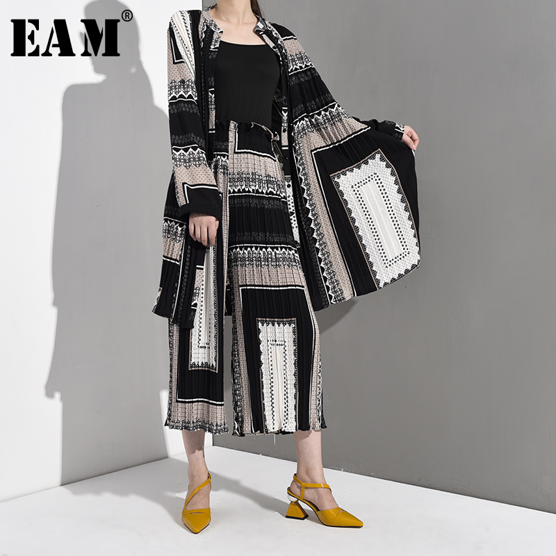 [EAM] 2019 New Autumn Winter V-Neck Long Sleeve Black Pattern Printed Loose Wide Leg Pants Two Piece Suit Women Fashion AE9990