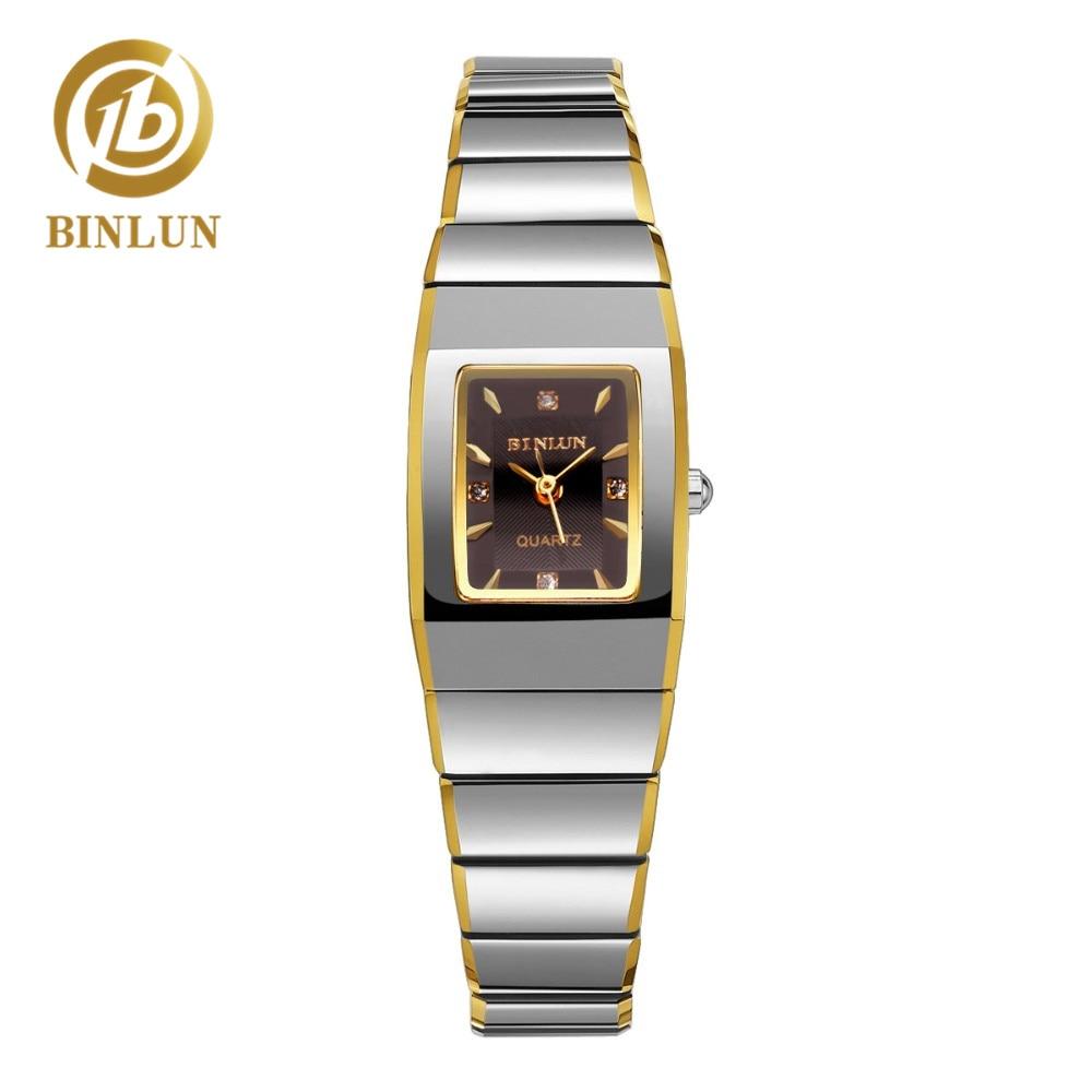 BINLUN 2018 Luxury 18K Gold Rectangle Tungsten Watch Fashion Women's Quartz Watch Waterproof Wristwatch Quartz Watch For Women