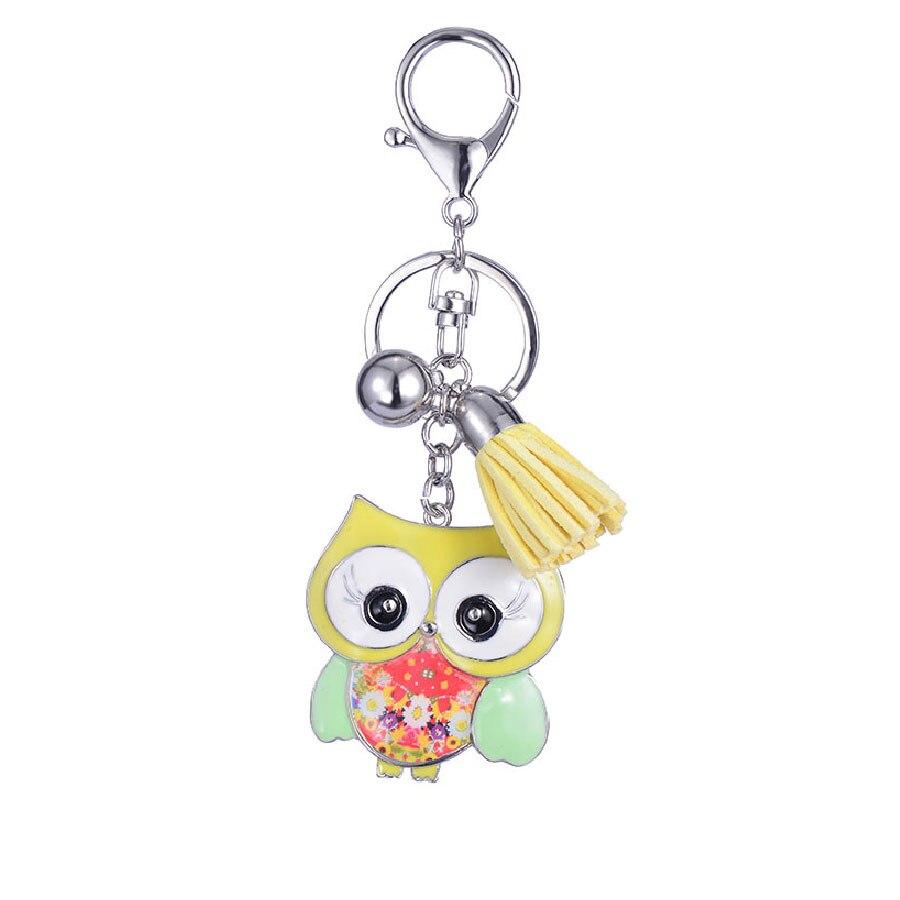Cute Big Eyes Owl Key Chain Enamel Alloy Lovely Bird Charm Key Ring Female Car Keychain Keyring For Girl Leather Tassel Jewlly in Key Chains from Jewelry Accessories