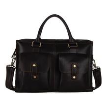 Retro Crazy Horse Leather Natural Cowhide Men Business Handbag Male Briefcase Tote Bag Fit For 14 Inch Laptop PR087096