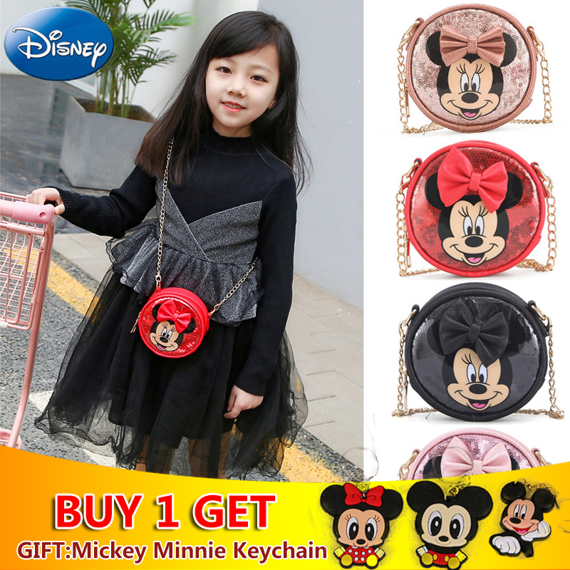 Disney Mickey Mouse Women Girl Minnie Cartoon Sequins Messenger Bag Shoulder Purse Diagonal Bags Gifts Mini Plush Backpack