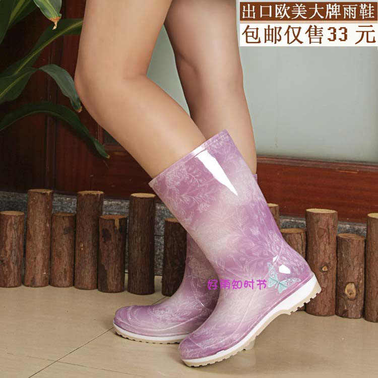 Botas de lluvia de tacón plano impermeables a la moda para primavera y otoño para mujer, zapatos de agua de goma con punta redonda y estampado de 30