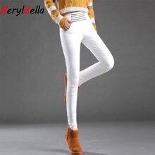 Blanco abajo pantalones para mujer invierno alta cintura más tamaño elástico pantalones largos delgados mujeres lápiz pantalones Pantalon mujer BerylBella