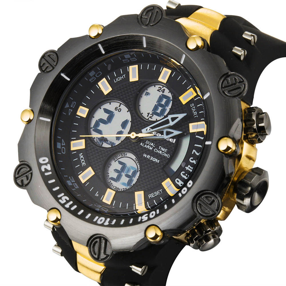Sport men's Quartz Digital LED Watch Chronograph