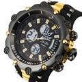 Top sport reloj de los hombres de marca famosa hombre de moda de lujo reloj digital de los hombres del deporte militar del ejército LED buseinss cuarzo reloj