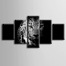 Wholesale 5 pieces / set of Black Leopard series wall art for decorating home Decorative painting on canvas framed/ZT-3-23