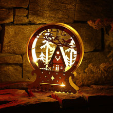 Christmas Decoration Ornaments LED Lights Deer Cart Creative Gifts Luminous Wooden House Window Decorations