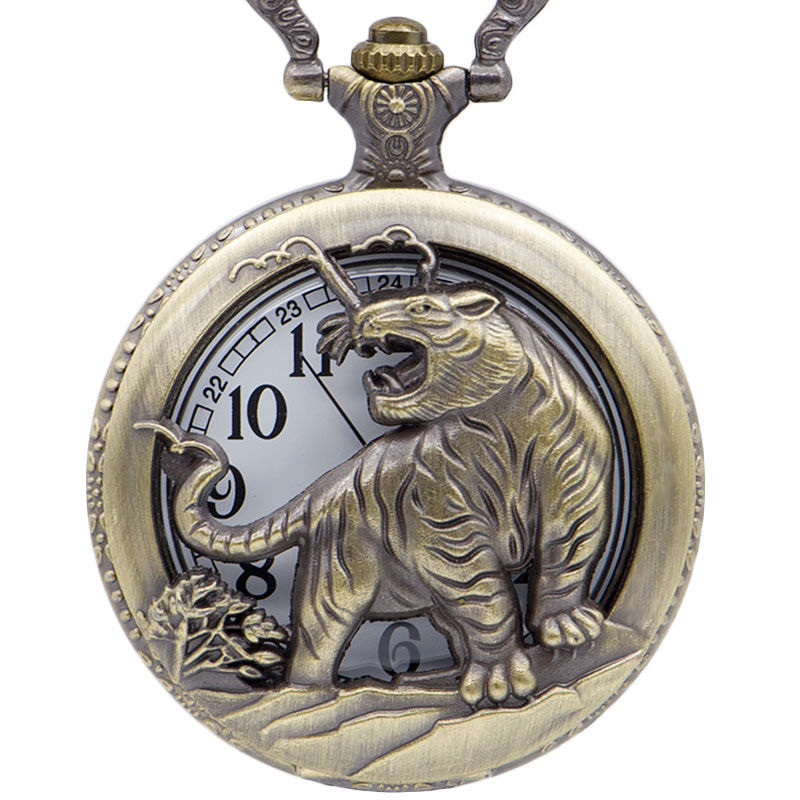 Creative Hollow Tiger Bronze Quartz Pocket Watch Pendant Necklace Men Fob Watches With Chain CF1077