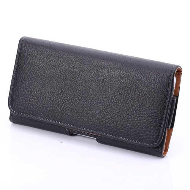 Leather Pouch with Belt Clip for Mobile Phone