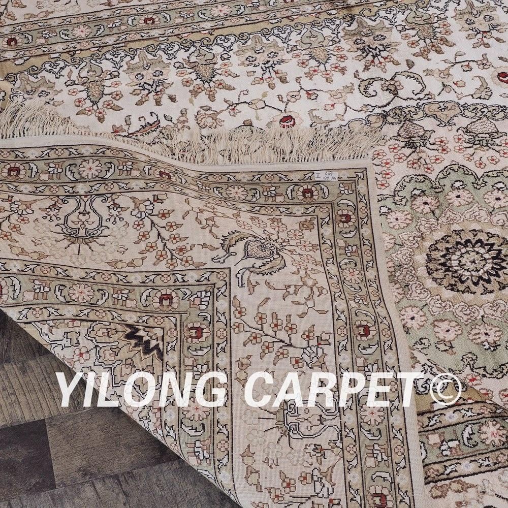YILONG 6'x9 'antique tabriz tapis de soie décoration de salon tapis de soie turc noué à la main (ZW039M6x9) - 6