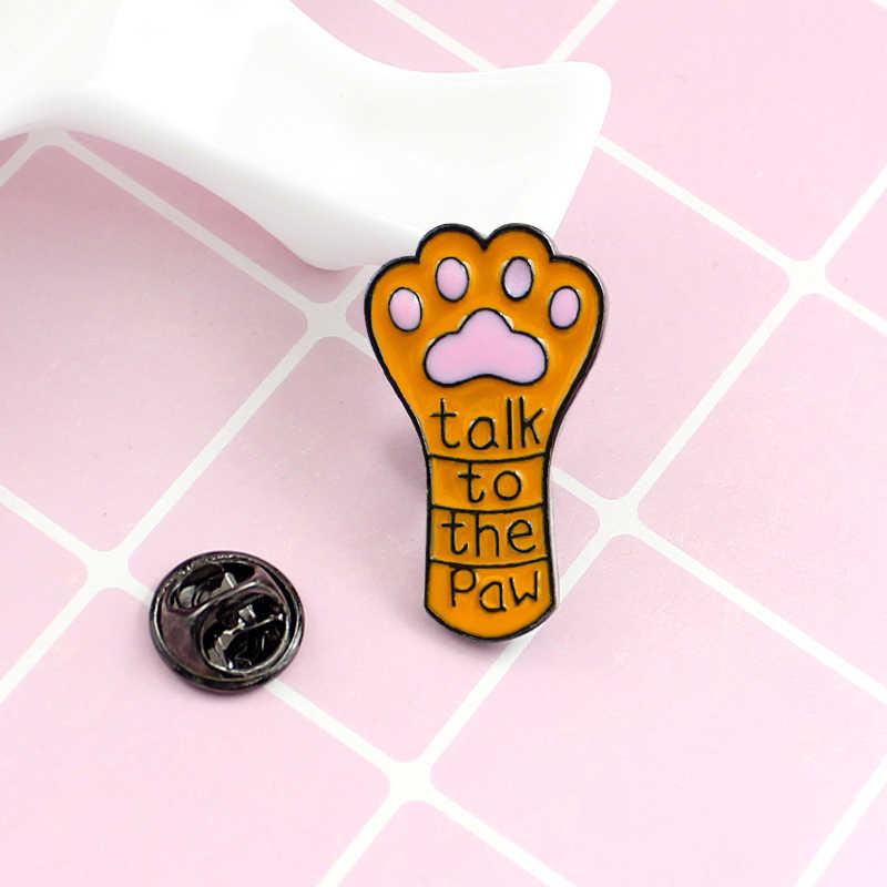 """Кошачий коготь Жесткий Эмаль контактный оранжевый pet paw принты """"поговорить лапа"""" милые животные принты брошь джинсы, кожаная нашивка"""