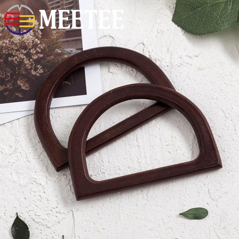 1Pair(2Pcs) 12X8cm Solid Wood D Shape Bags Handle Retro Wooden Purse Frame Hanger DIY Handbag Accessories KY218