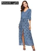 Women Elegant Beach Navy Floral Print Maxi Dress Half Sleeve Boho Long Shirt Dress Summer Tunics Plus Size 3XL Maxi Dress Spring
