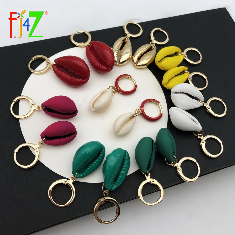 F J4Z New Nature Seashell Earrings Women Fashion Colorfull Coating Shell Hoop Earrings Summer Earrings Beach Jewelry Dropship in Hoop Earrings from Jewelry Accessories