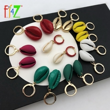 F.J4Z New Nature Seashell Earrings Women Fashion Colorfull Coating Shell Hoop Summer Beach Jewelry Dropship