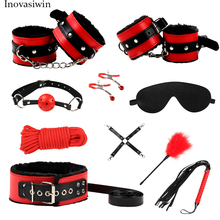 New top PU leather sex bondage set for couple handcuff belt mask 5m rope dog collar woman click milk BDSM bundle suit