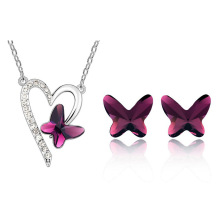 Kiss Butterfly Pendant  Fashion Jewelry Sets Rhinestone Crystal Cute Love Valentine's Day Gifts Animal Jewelry for women