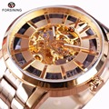 Forsining Transparent Golden Fashion Style 316 Stainless Steel Waterproof Sapphire Mirror Men Automatic Watch Top Brand Luxury
