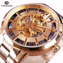 Forsining Oro Transparente Estilo de La Moda 316 Espejo de Zafiro Resistente Al Agua de Acero Inoxidable Automático de Los Hombres Reloj de Lujo Superior de la Marca