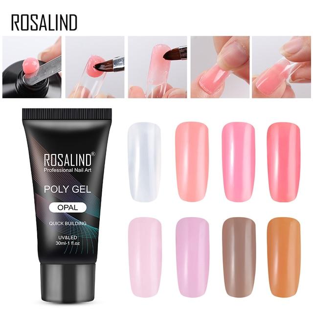 ROSALIND Poly Gel barniz UV LED Builder Gel 30 ML juego de esmalte de uñas para el diseño de extensión de uñas manicura Poly Primer arte de uñas