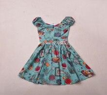 2016 Blue Fruit Print Mini Women Dress Sweet Slash Neck Off The Shoulder Beach Dress Sexy Vestidos De Fiesta 61420