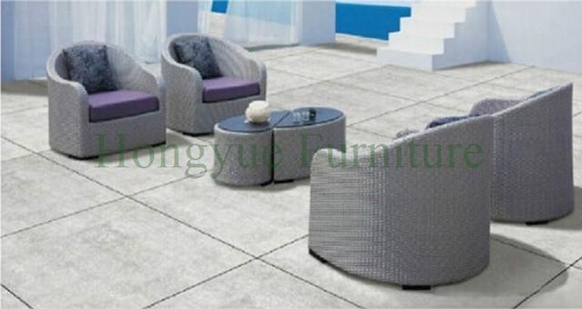 Exterior sofá hot sale PE rattan sofa set y marco de hierro muebles de jardín