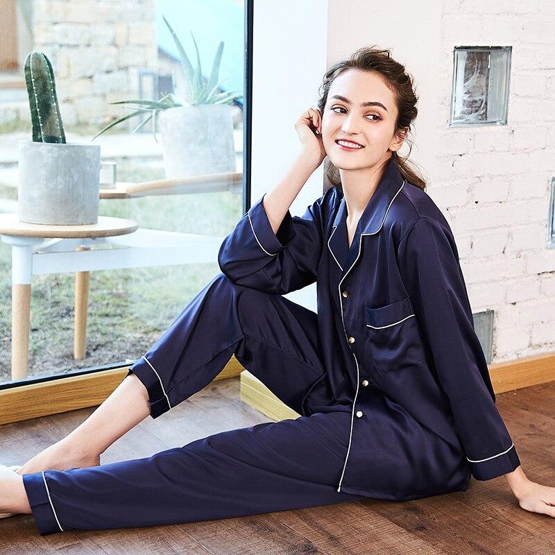 2 piece Silk Nightwear Pajamas Set Women Long Sleeve Tops + Long Pants Sexy Nighties Lingerie Lady Pink loungewear autumn