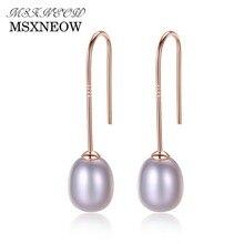 hot deal buy msxneow simple ear hook 925 sterling silver earrings 8-9mm natural rice pearl drop earrings for women fine jewelry fe0026