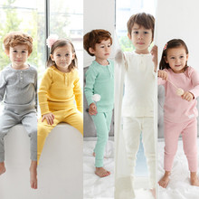 2019 retail boys pure color pajamas 100% cotton with a long sleeve shirt and pants 2 pcs boy sets childrens