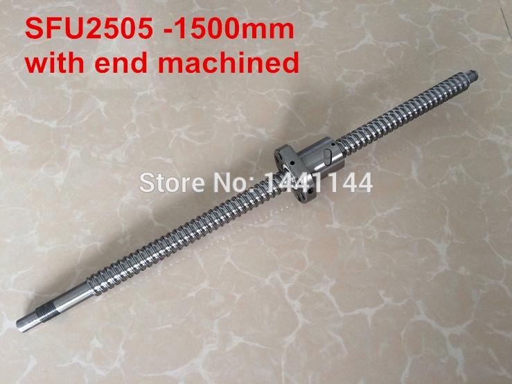 SFU2505   1500mm ballscrew + ball nut  with BK20/BF20 end machined|nuts roasting|nut|nut lock - title=