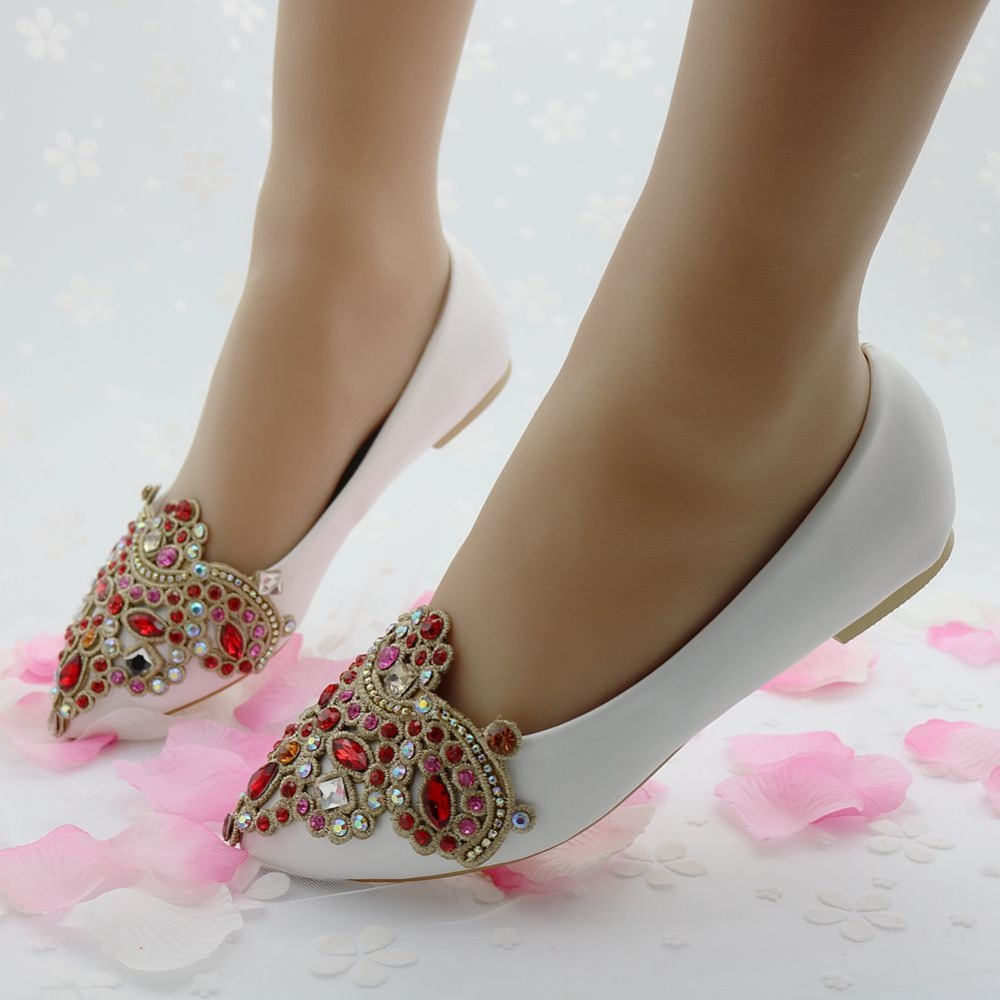 Fashion Flats Women Shoes Wedding Flat Heel Casual For Girls Pointed Toe Rhinstone White In Womens From