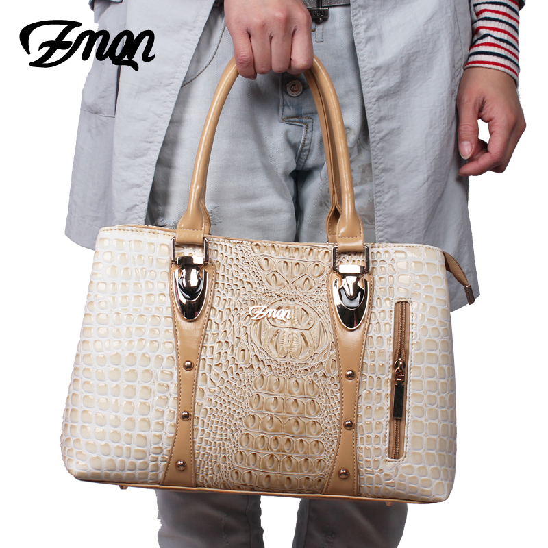 ZMQN Luxury Handbags Women Bag Designer 2017 High Quality Fashion Crocodile Tote Bags Handbag Women Famous Brand PU Leather A804