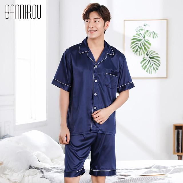 Простые однотонные мужской пижамы комплекты из искусственного шелка брюки Кардиган нагрудные Кнопка Высокое качество сезон: весна–лето Домашняя одежда человек Пижама