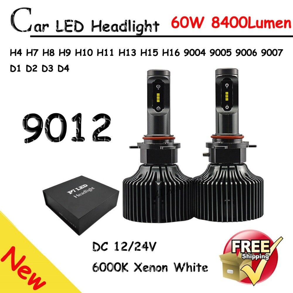 Coche H8 H11 H7 Faros LED 2X30 W 6500 K 8400LM 12 V Bombillas CSP 2 lados Diodos