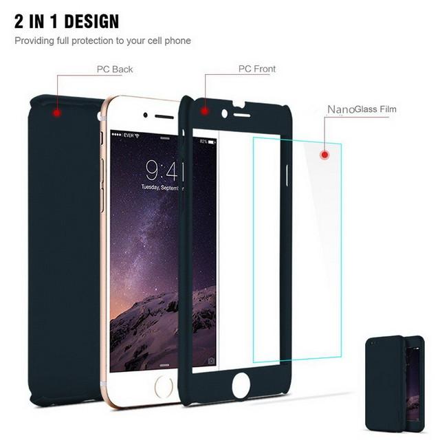 Coque de protection intégrale 360 degrés avant arrière écran pour iPhone 7 6 6s