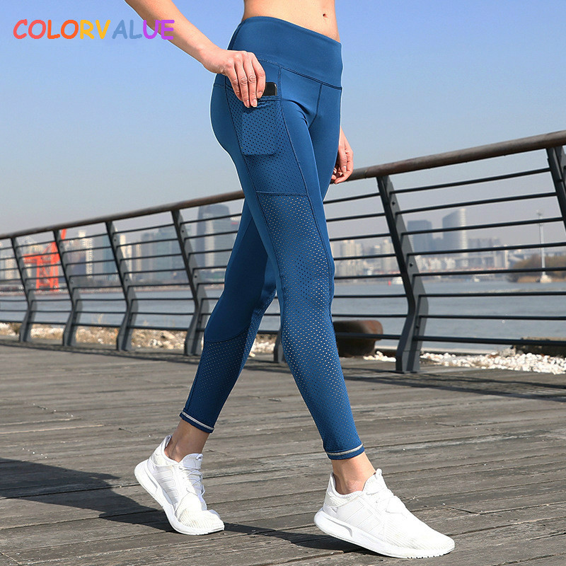 Colorvalue Breathable Mesh Running Jogger Tights Women Stretchy Sport Fitness Pants Reflective Yoga Gym Leggings with Pocket pocket sweatshirt and sequins jogger pants