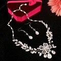 La nueva flor hecha a mano collares pendientes accesorios de la boda joyería nupcial conjuntos de joyería de perlas al por mayor collar de múltiples capas