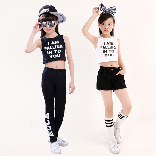 9bb4b5ab1908f3 2018 New Kids Hip Hop Dance Clothes 3-16Y Girls Summer White Black Cotton  Crop Top   Shorts  Legging Suit Girl Outfit Streetwear