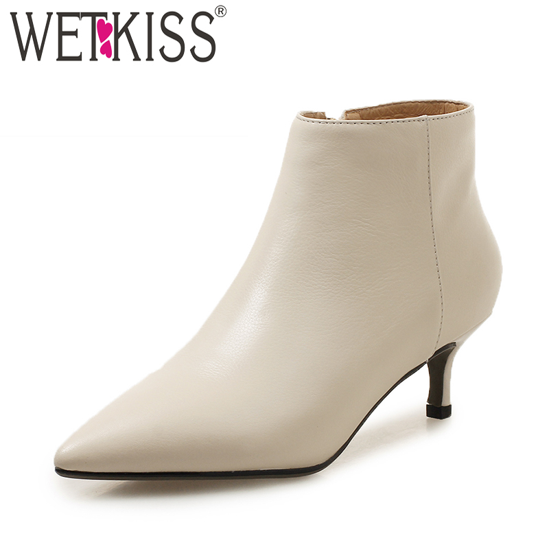 WETKISS Cow Leather Women Ankle Boots Pointed Toe Rubber Footwear Fur Med Heels Female Boot Zip