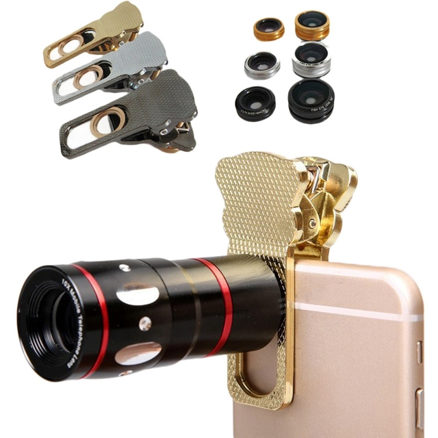 4 In 1 mobile phone lenses 10x Telephoto Clip+ Camera Kit Fish Eye+Wide Angle+Macro for iPhone 6 Samsung S5 Note 4 camera lenses