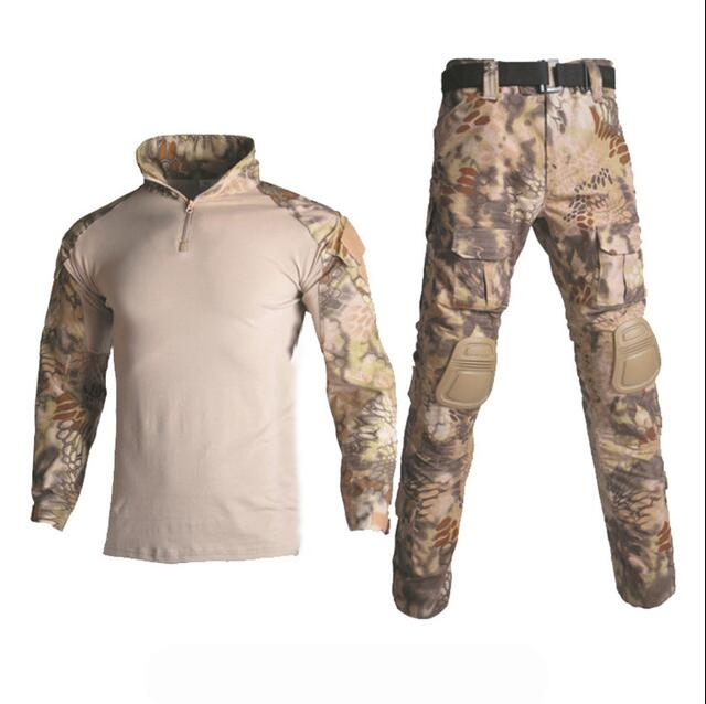 Camouflage Chasse Ghillie Costume Tactique Woodland Jungle uniforme militaire Airsoft Sniper pull militaire + Pantalon + protège-coudes/genoux