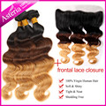 """1b/4/27 Ombre Ear to Ear Lace Frontal Closure 13X4"""" With 3 bundles brazilian virgin hair Body Wave West Kiss human hair weave"""