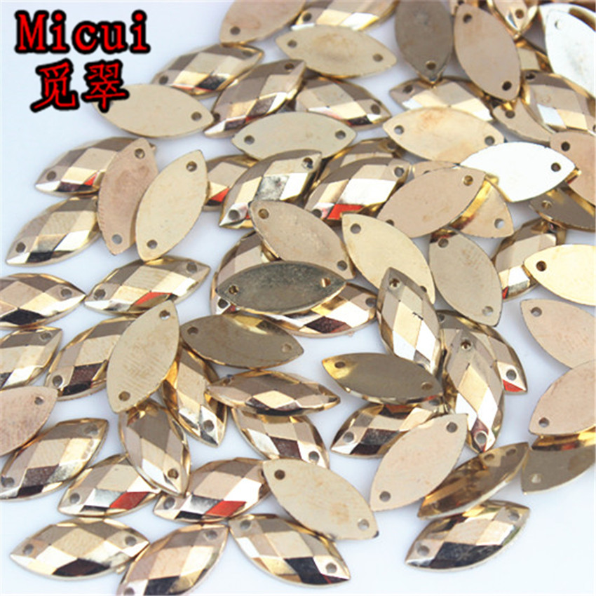 Micui 200PCS 7*15mm Horse eye Rhinestones Sew On Acrylic Crystals Stone Sewing Flatback Appliques for Crafts Clothes ZZ225